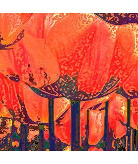 Obraz na płótnie Obraz do salonu Tulipany czerwony las (1-częściowy) szeroki