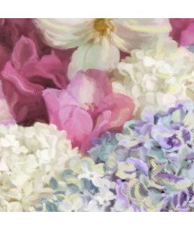 Hortensja, róża, powojnik i kwiaty bzu obraz Bukiet w misie obraz plakat