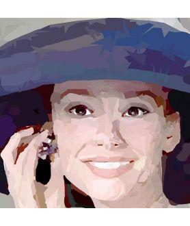 Obraz na płótnie Obraz na scianę Audrey Hepburn w kapeluszu (1-częściowy) kwadrat