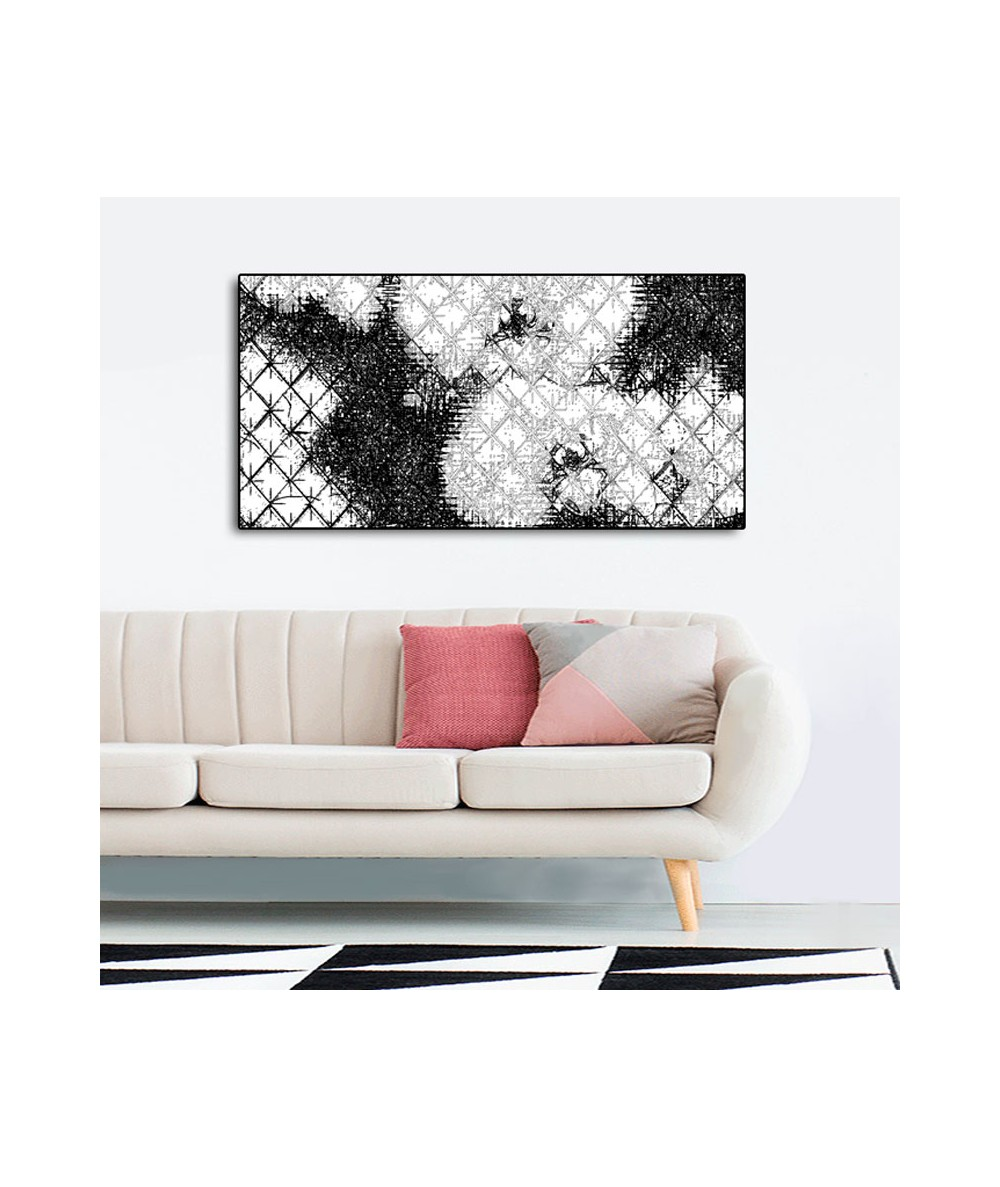 Obraz na ścianę Romby i storczyki czarno białe