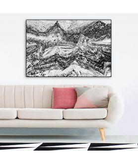 Obraz na płótnie Obraz pejzaż górski Grafika gór (1-częściowy) szeroki