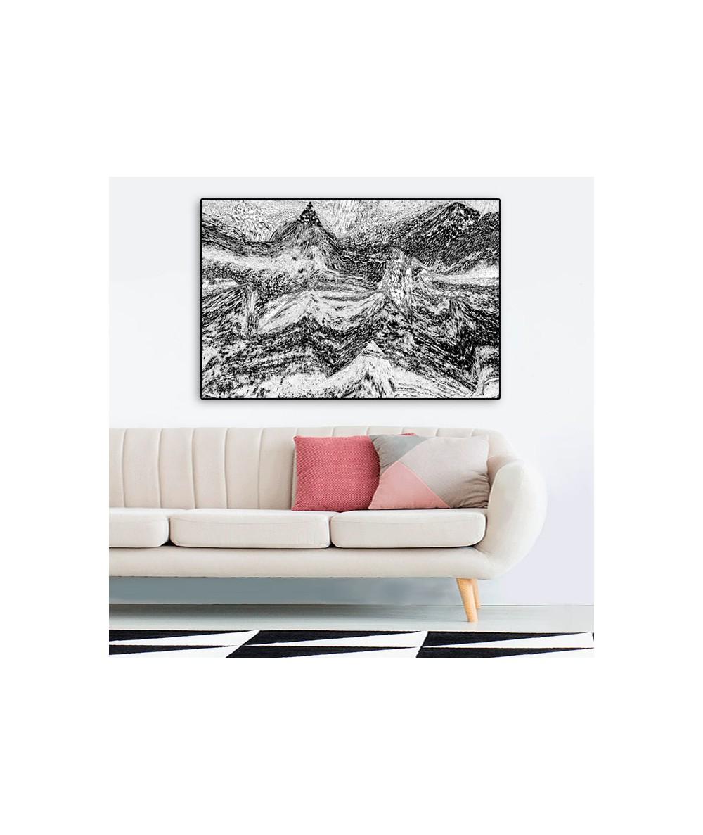 Obraz pejzaż górski Grafika gór (1-częściowy) szeroki