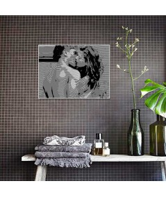 Obraz czarno biały Pocałunek Coco obraz plakat