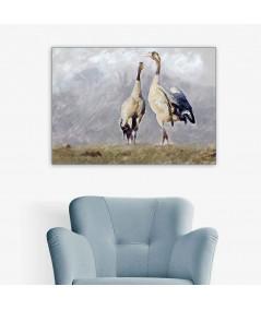 Obrazy zwierząt - Obraz na płótnie Żurawie (1-częściowy) szeroki
