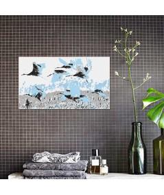Obraz na płótnie Obraz zwierzęta dzikie Żurawie białe (1-częściowy) szeroki