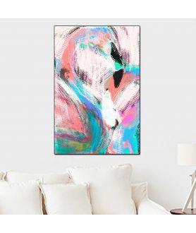 Obraz na płótnie Kolorowa grafika na ścianę Flamingi, grafika zwierzęta