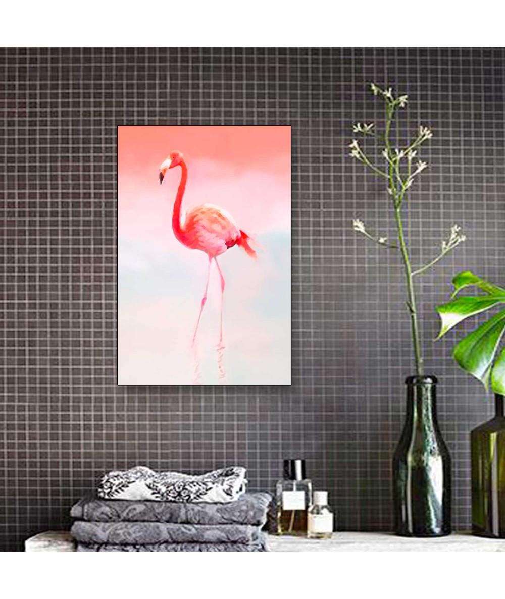 Obrazy zwierząt - Obraz akwarela ze zwierzętami Flaming różowy (pionowy)