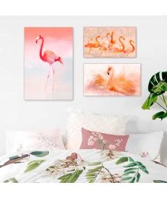 Flamingi w słońcu, Flaming różowy, Flaming akwarela - obrazy na płótnie do salonu, grafiki do aranżacji wnętrz, grafikiobrazy.pl