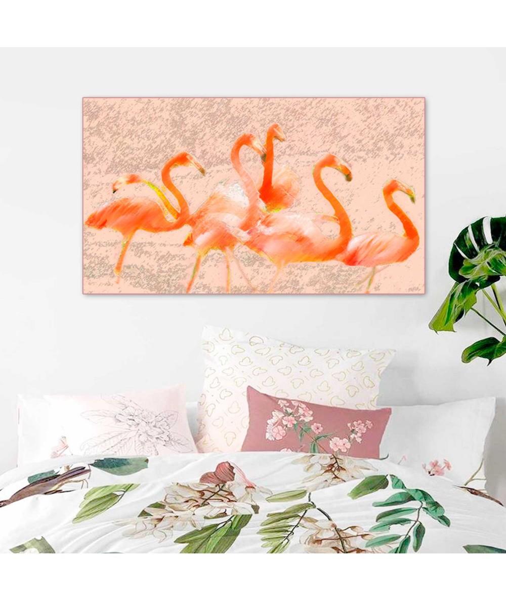 Nowoczesna grafika na ścianę Flamingi w słońcu