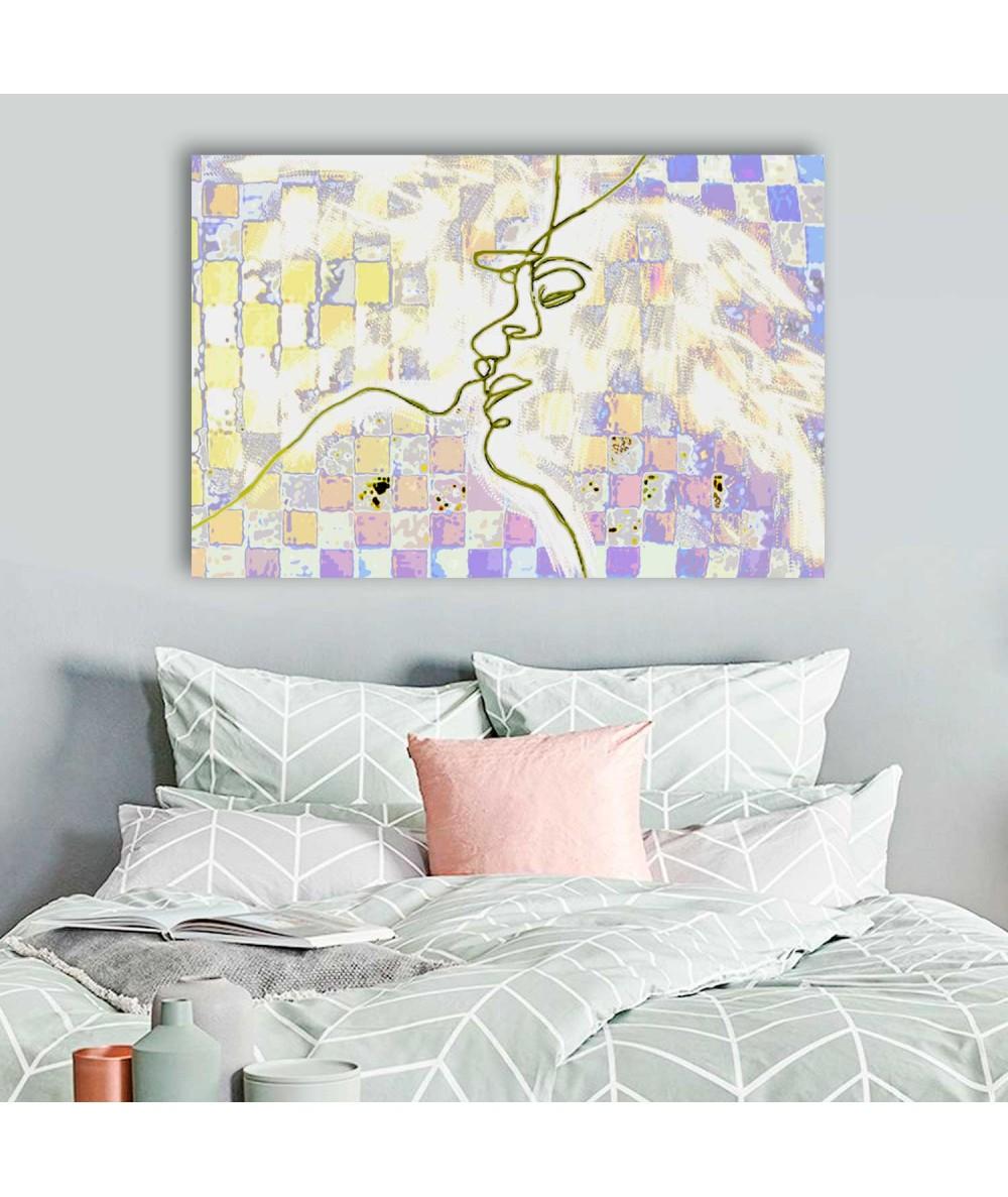 Obrazy pocałunek Dekoracja ścienna obraz Miłosne szachy (1-częściowy) szeroki