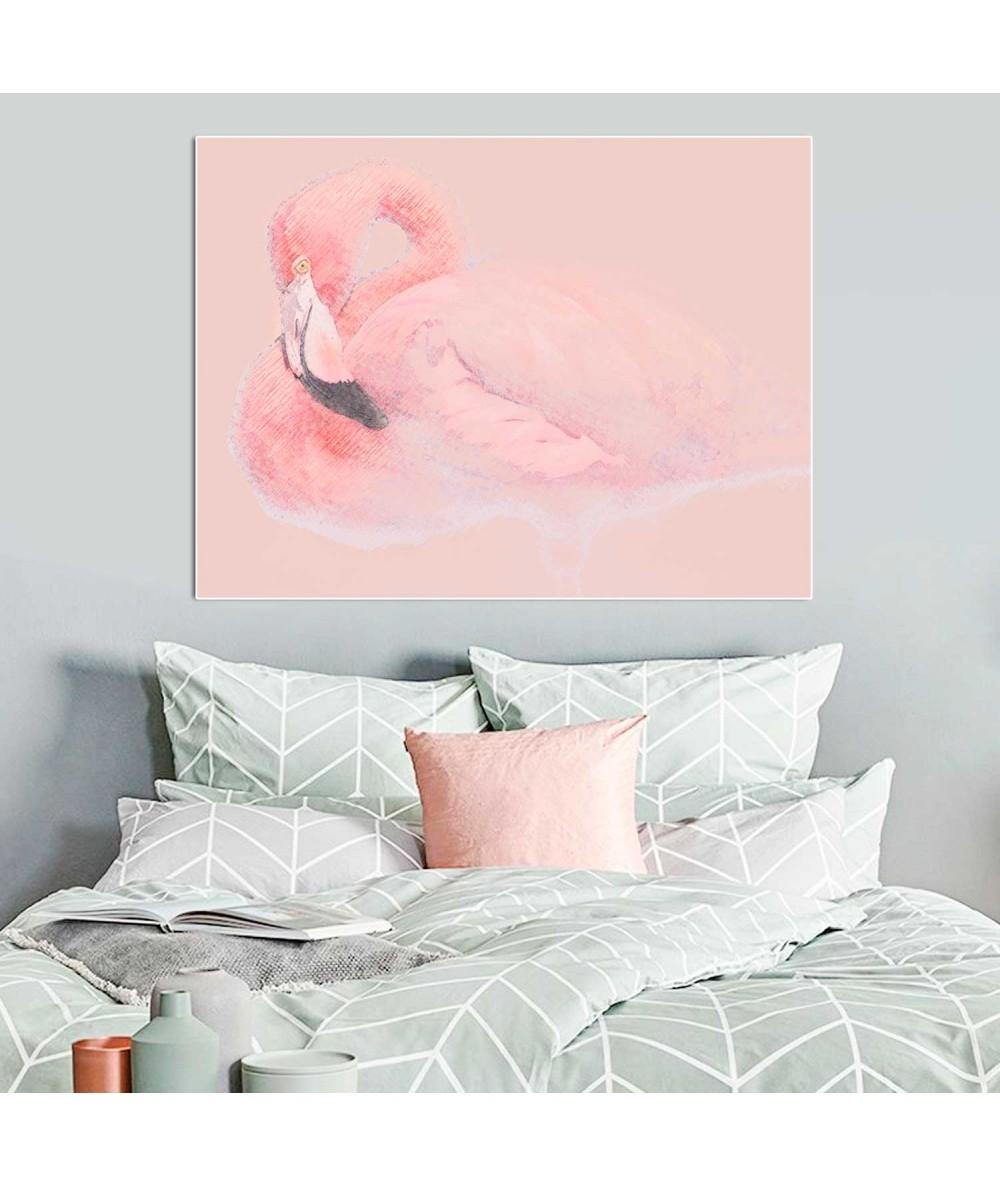 Obrazy zwierząt - Obraz drukowany z flamingiem Flaming w pasteli