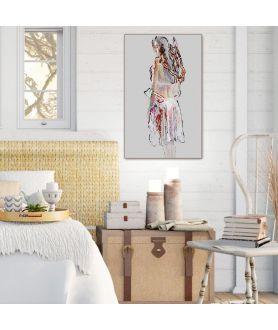 Plakat akt Kobieta w halce, grafika na ścianę do sypialni