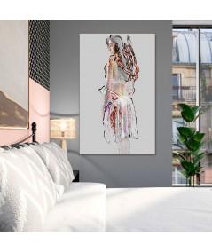 Obrazy kobieta - Plakat akt Kobieta w halce, grafika na ścianę do sypialni