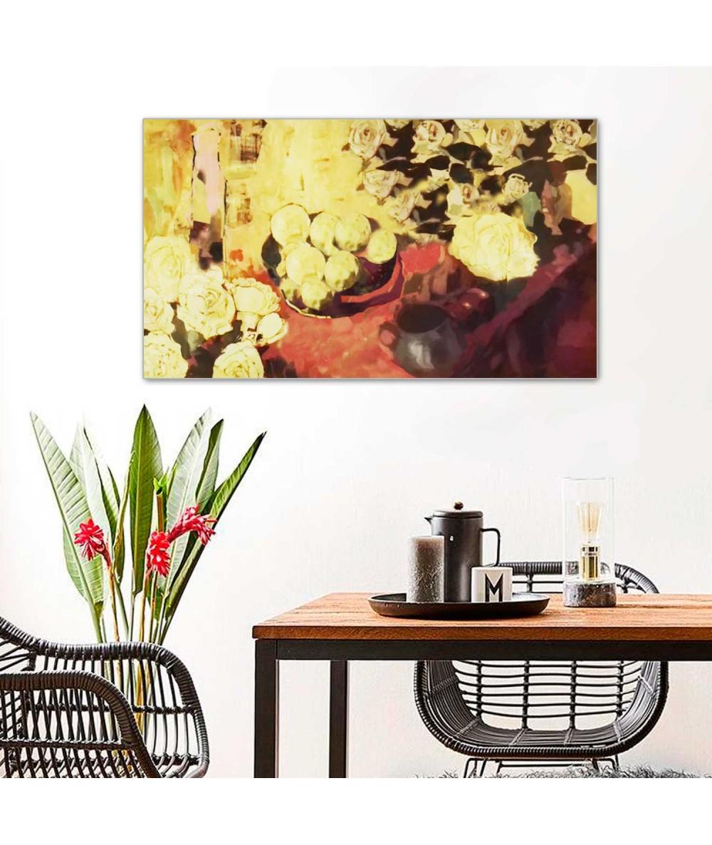 Obraz Martwa natura z żółtymi kwiatami (1-częściowy) szeroki