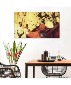 Martwa natura z żółtymi kwiatami obraz do salonu