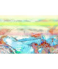 Obraz na płótnie Obraz akwarela abstrakcyjna Fala (1-częściowy) szeroki