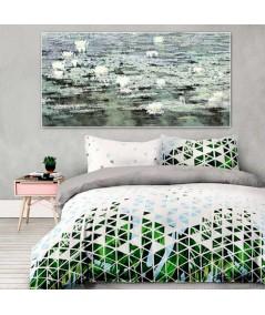 Obrazy kwiaty - Zielony obraz Pejzaż z liliami (1-częściowy) długi