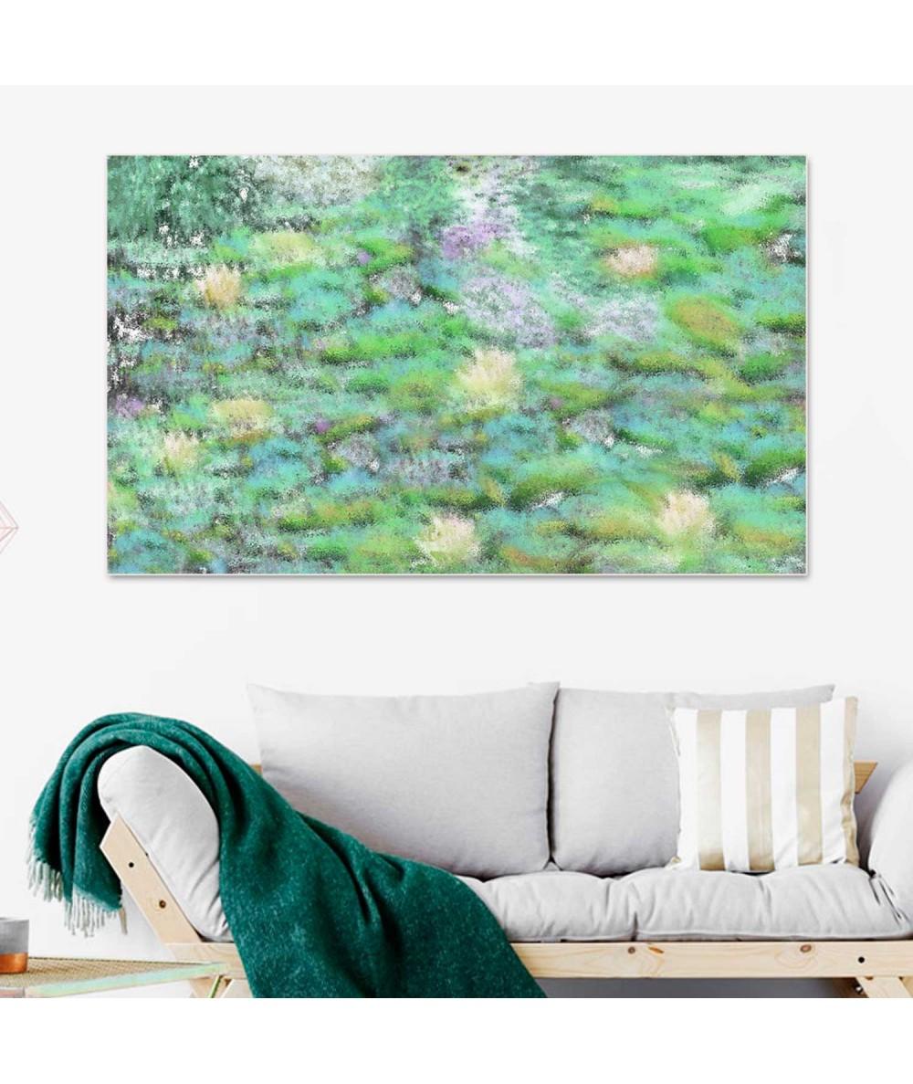 Obraz zielony Nenufary kwiaty wodne