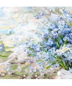 Kwiaty Powojnik i niezapominajki w słoju obraz do salonu
