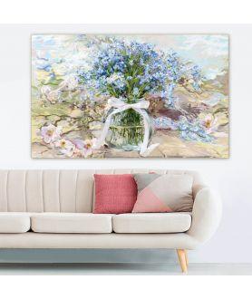 Obraz na płótnie Obraz kwiaty Powojnik i niezapominajki w słoju