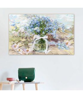 Obraz kwiaty Powojnik i niezapominajki w słoju