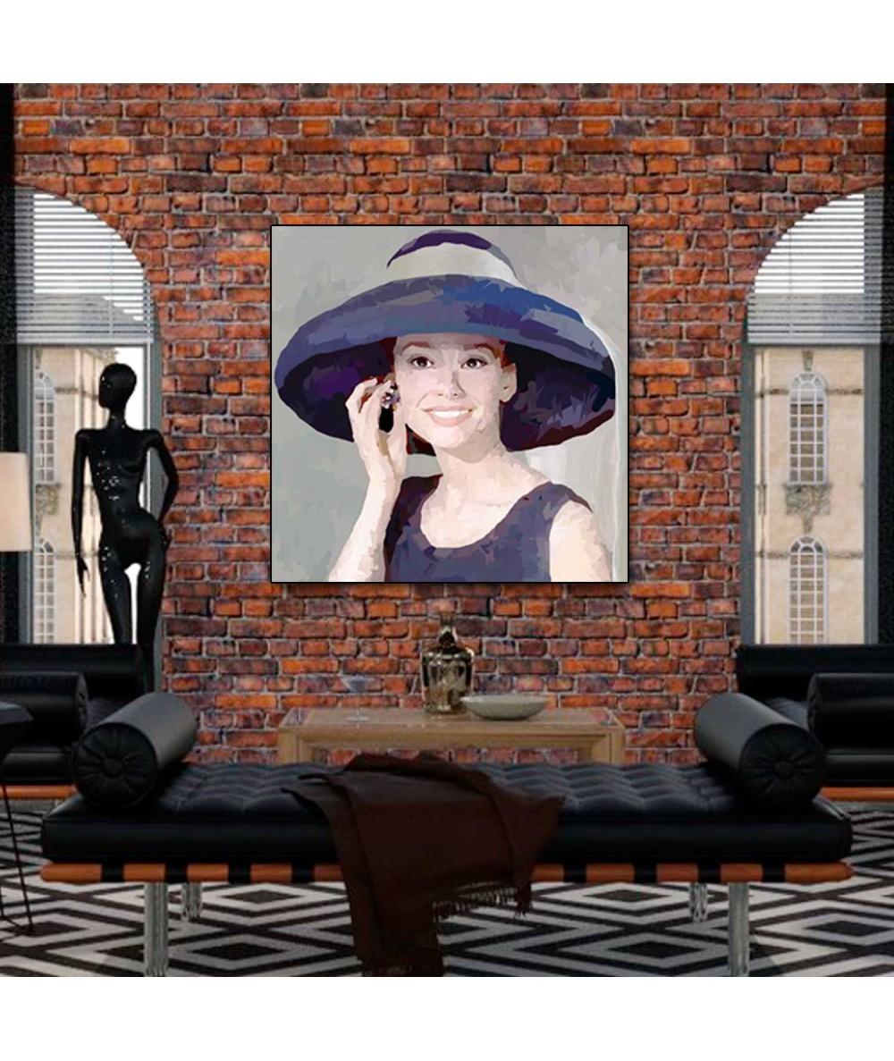 Obraz na scianę Audrey Hepburn w kapeluszu (1-częściowy) kwadrat