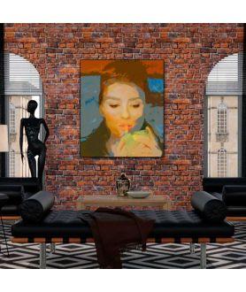 Obraz na płótnie Obraz Szminka Audrey Hepburn (1-częściowy) pionowy