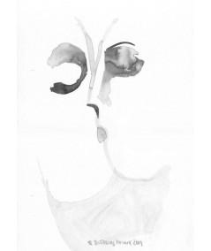 Grafika Pocałunek A3, ręcznie malowana, abstrakcja czarno biała obraz plakat