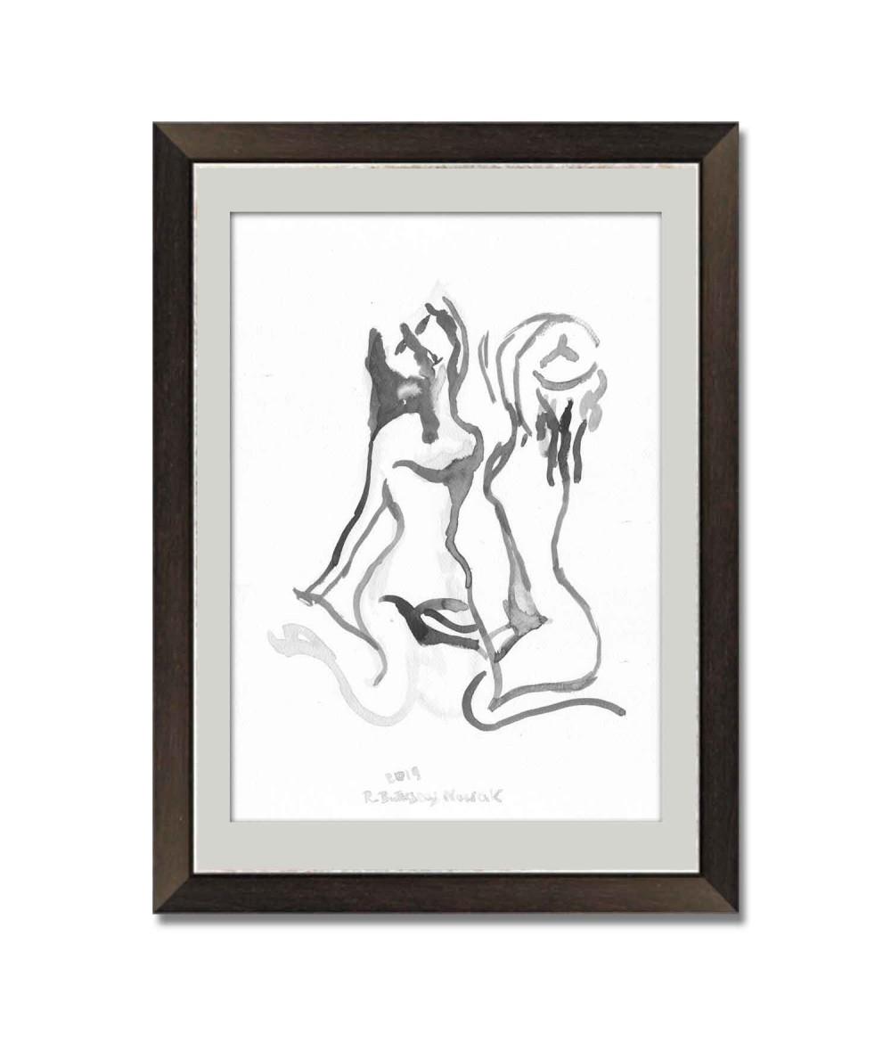 Obraz na płótnie Grafika Dwie kobiety czarno biała, malowana ręcznie, tusz, figuracja