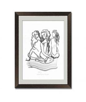 Obraz na płótnie Grafika Trzy kobiety czarno biała, malowana ręcznie tuszem, figuracja