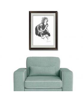Grafika czarno biała z kobietą, malowana ręcznie tuszem, glamour obraz plakat