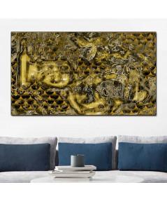 Obraz Złota abstrakcja butelka (1-częściowy) szeroki