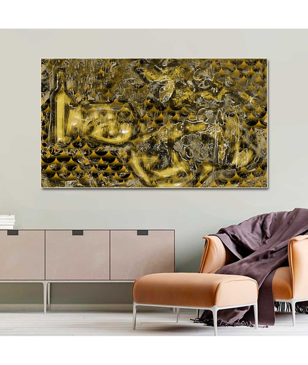 Obrazy abstrakcyjne - Obraz Złota abstrakcja butelka (1-częściowy) szeroki