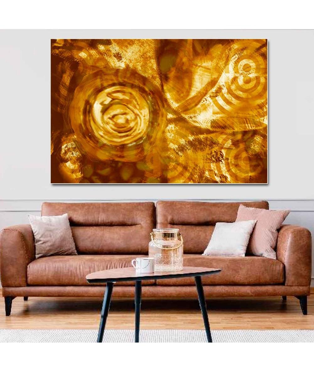 Obrazy abstrakcyjne - Obraz na płótnie Miodowa abstrakcja (1-częściowy) pionowy