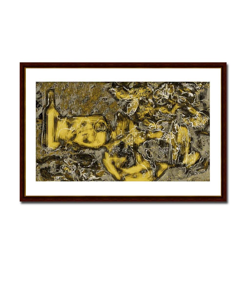 Nowoczesny obraz plakat Martwa natura kwiaty Złota kompozycja
