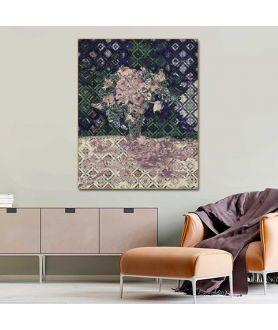 Grafika na ścianę do salonu Nasturcje art deco violet