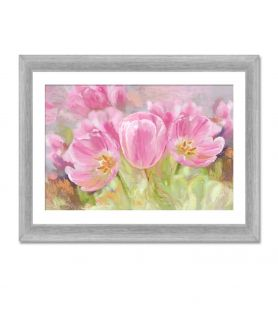 Obrazy plakaty na ścianę Obraz kwiaty na płótnie Różowe tulipany