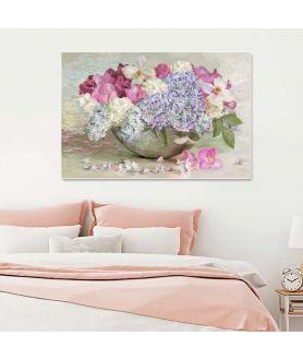 Obrazy plakaty na ścianę Obraz Hortensja, róża, powojnik i kwiaty bzu Bukiet w misie