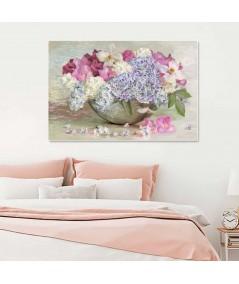 Hortensja, róża, powojnik i kwiaty bzu Bukiet w misie obraz do salonu