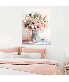 Obraz pudrowy róż kwiaty Magnolie w wazonie