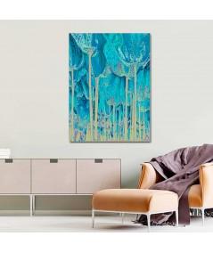 Obraz na płótnie Obraz turkusowy Tulipany drzewa (1-częściowy) pionowy