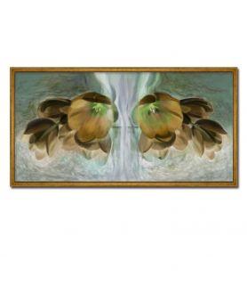 obrazy kwiaty Obraz brązowe kwiaty Złote tulipany (1-częściowy) wąski