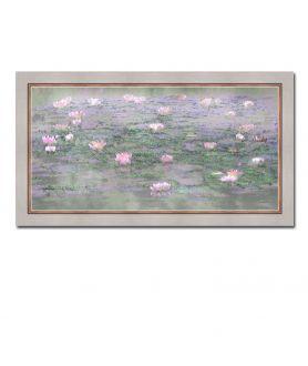 Nowoczesny obraz plakat Obraz Pejzaż z różowymi nenufarami