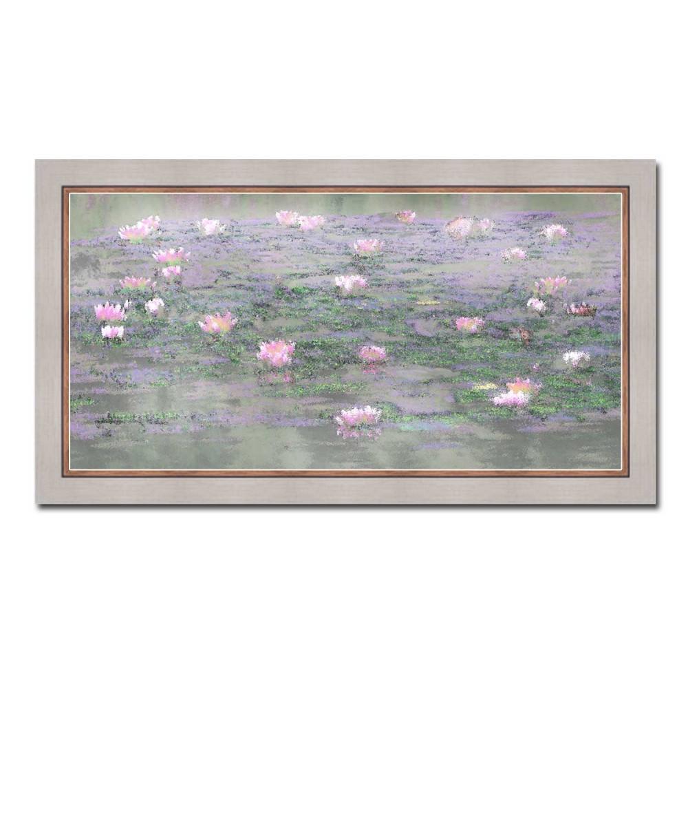 Obraz Pejzaż z różowymi nenufarami (1-częściowy)