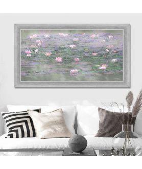 Obraz na płótnie Obraz Pejzaż z różowymi nenufarami (1-częściowy)