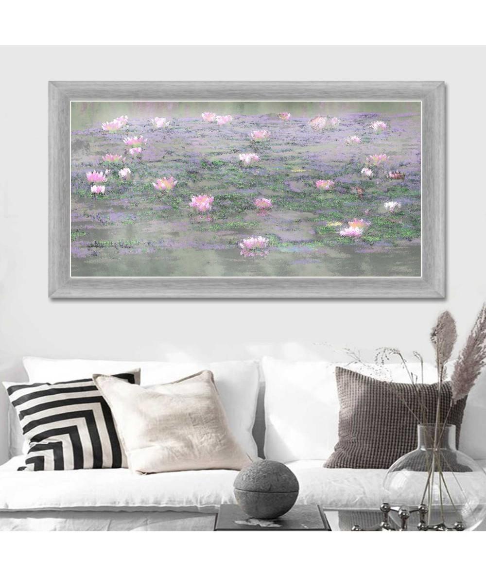 Pejzaż z różowymi nenufarami obraz do salonu