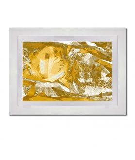 Obraz kwiaty nowoczesny Złociste lilie (1-częściowy) szeroki