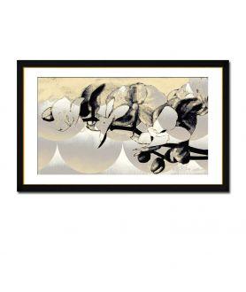 Dekoracja ścienna Obraz srebrny na płótnie Srebrne storczyki