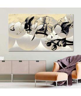 Obraz srebrny na płótnie Srebrne storczyki