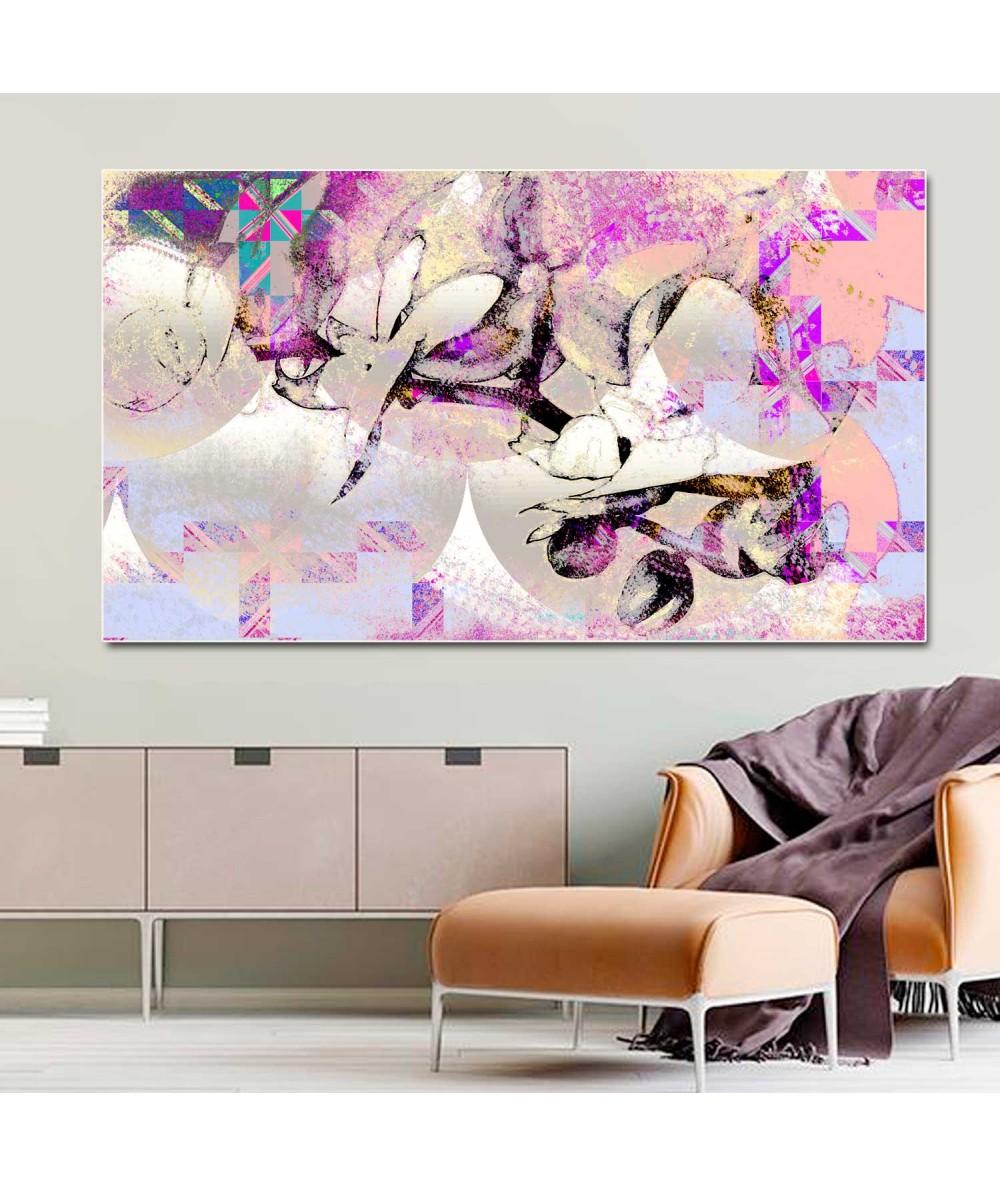 Obraz na płótnie Kwiaty obraz Storczyki i wzory (1-częściowy) szeroki
